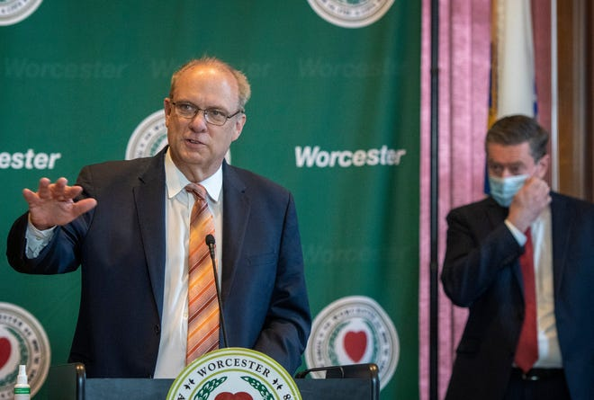 Mayor Joseph M. Petty speaks during the city's COVID-19 update at Worcester City Hall Thursday.