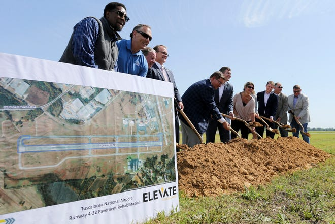 Ground is broken for the renovation of the runway at the Tuscaloosa National Airport Thursday, April 15, 2021. [Staff Photo/Gary Cosby Jr.]