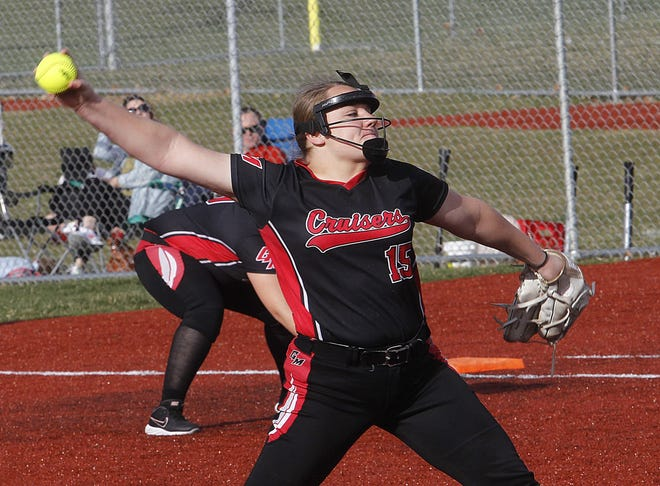 Groveport Madison's Kendyll Cahill tossed a perfect game April 15 as the Cruisers defeated visiting Reynoldsburg 10-0 in five innings.