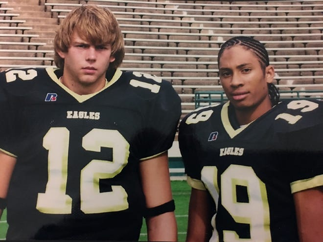 Taylor Potts (left) and Lyle Leong Jr. in an undated photo during their time with the Abilene High School football team in the early-mid 2000s.