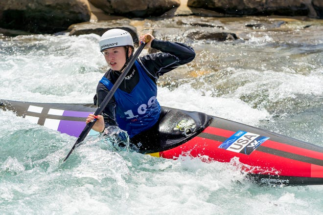 Evy Leibfarth, of Bryson City, won the women's slalom canoe - seen here - and women's slalom kayak races at the U.S. Olympic/National Team Trials April 12-14 in Charlotte, earning the sole slot on the U.S. Olympic women's slalom Team for the Tokyo Games.