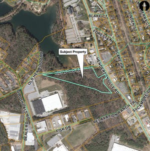 A map shows the site of the planned Lakeshore Villas apartment complex, proposed by Mountain Housing Opportunities.