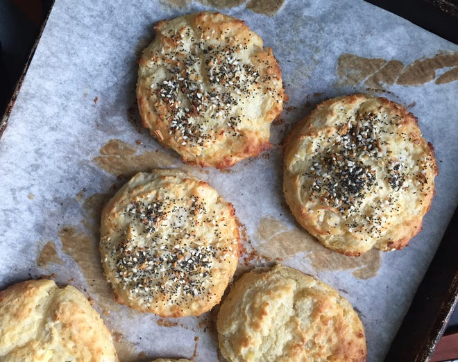 A sprinkle of everything bagel topping gives potato biscuits a different (and addicting) flavor.