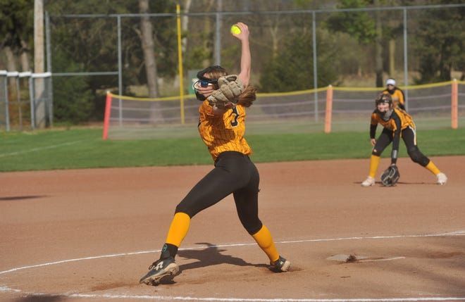 Colonel Crawford's Lauren Frietchen winds up for a pitch against Mohawk.
