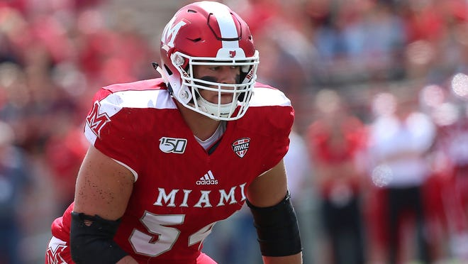 Miami RedHawks left tackle Tommy Doyle during an NCAA football game on Saturday, Sept. 7 , 2019 in Oxford , OH.