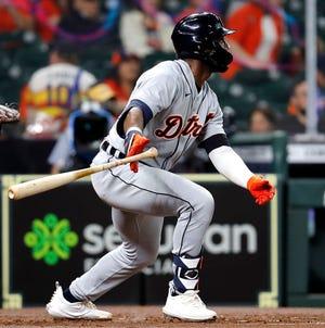 Akil Baddoo # 60 dari Detroit Tigers mencetak ganda RBI di inning kedua melawan Houston Astros di Minute Maid Park pada 14 April 2021 di Houston, Texas.