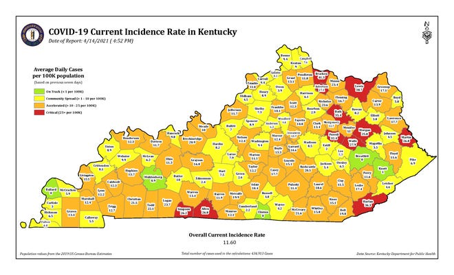 The COVID-19 current incidence rate map for Kentucky as of Wednesday, April 14.