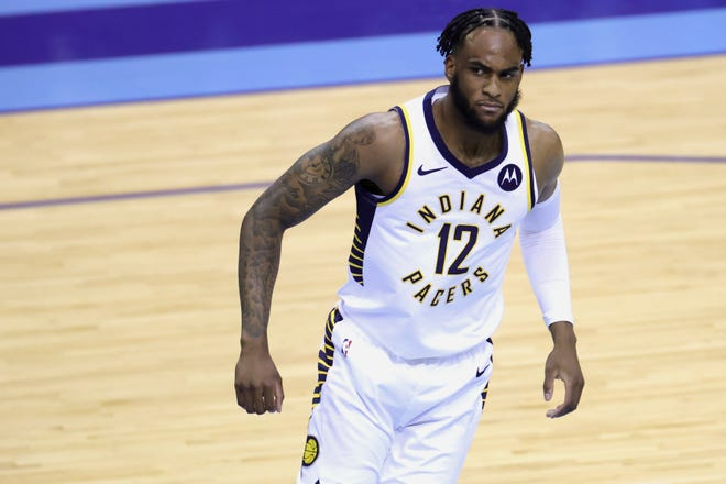 Indiana Pacers' Oshae Brissett reacts during the second quarter against the Houston Rockets in an NBA basketball game Wednesday, April 14, 2021, in Houston.