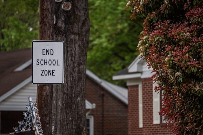 """End School Zone"" sign for Community Montessori School on Westwood Ave in Jackson, Tenn."
