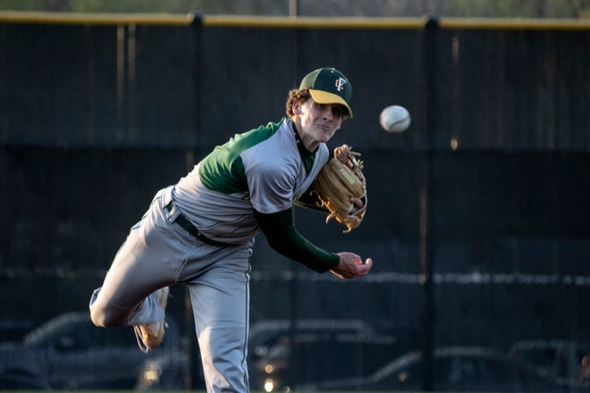 Floyd Central's Casey Sorg struck out seven Bulldogs in Floyd Central's win over New Albany. 4/14/21