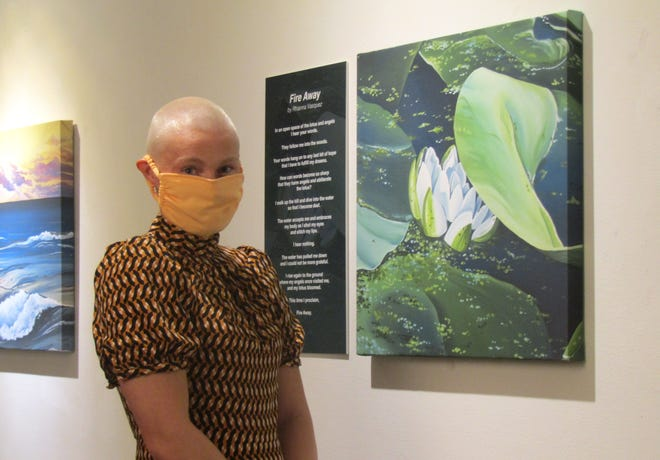 Rhianna Vasquez alongside her poetry and the artwork created from the landscape she chose.