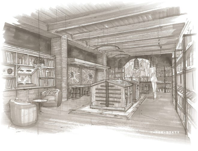 The back portion of 2A Wine Merchants, opening at 577 E. Erie St. in summer, will resemble a wine library, with a few nooks for tasting wines.