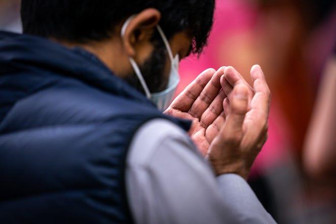 Men gather to pray during the holy month of Ramadan at the Salahadeen Center in Nashville, Tenn., Wednesday, April 14, 2021.