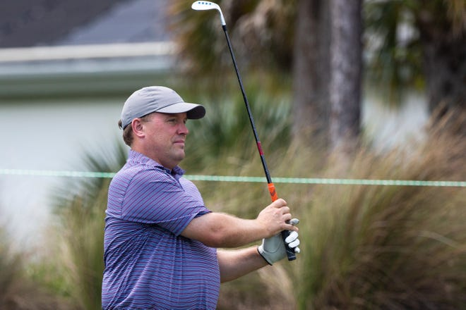 Tim Erensen, managing partner at Eiger Marketing Group, drives the ball during day two of the Chubb Classic Pro Am at Tibur—n Golf Club in North Naples on Thursday, April 15, 2021.