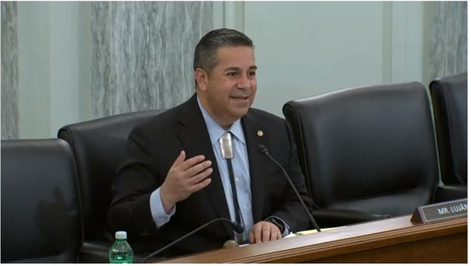 U.S. Sen. Ben Ray Luján, D-N.M., chairs his first hearing of the Senate Subcommittee on Communications, Media and Broadband in Washington, D.C. on Thursday, April 15, 2021.