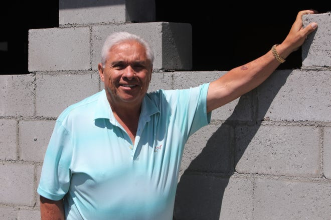 Los Hermanitos owner Sam Gonzales, seen here on Thursday, April 15, 2021, said the westside location's new patio will include cinder block walls to help block out traffic noise coming from U.S. Highway 64.
