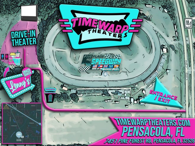 The creators of the Pop-Up Movie Tour have launched a permanent drive-in theater called Timewarp Theaters right outside the Five Flags Speedway track. Movies will start showing April 29.