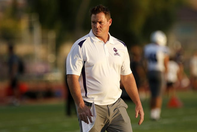 Queen Creek head coach Joe Germaine before their game against Chandler. (Darryl Webb/For the Republic)