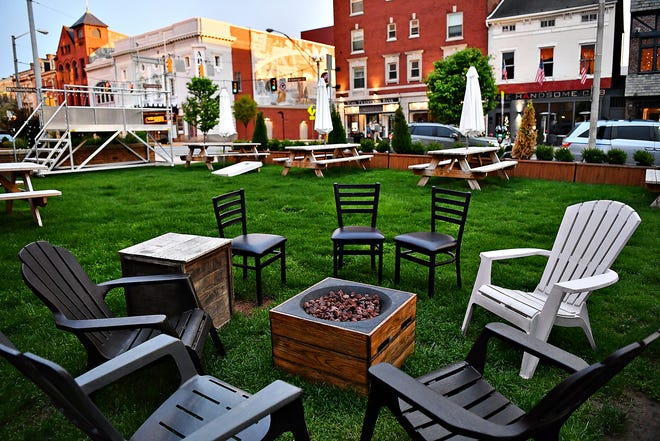The open-air dining area is shown at Gift Horse Brewing in York City, Wednesday, April 14, 2021. Gift Horse, one of five establishments along Restaurant Row, will offer outdoor dining Fridays 5:30-11 p.m., Saturdays 1-11 p.m., and Sundays 12-11 p.m. from April 30 thru Sept. 26 on and around North George Street. Dawn J. Sagert photo