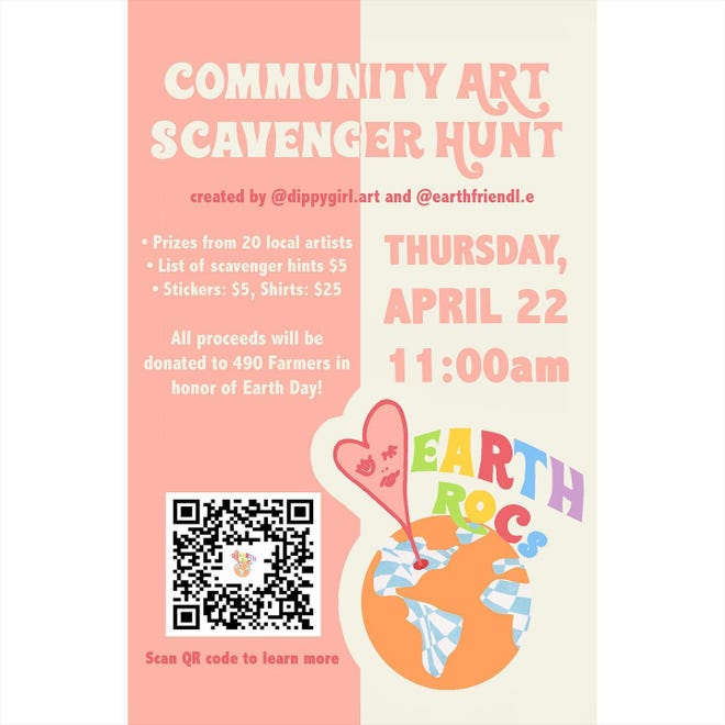 Planned by @dippygirl.art and @earthfriendl.e, the Community Art Scavenger Hunt begins at 11:00 am on Earth Day.