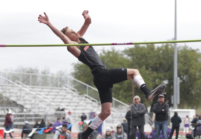 Robert Lee High School's Noah Escamilla eyes the 6-foot-2 bar in the boys high jump at the Districts 11/12-1A Area Track and Field Meet April 14, 2021, in Mertzon.