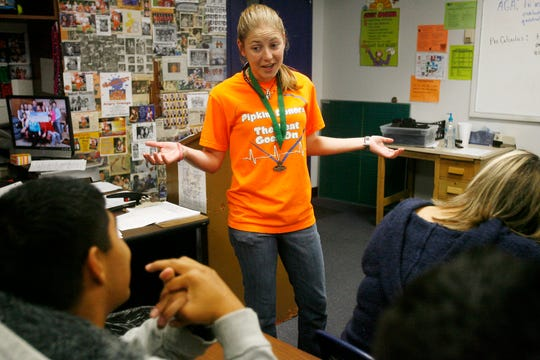 Sarah Pipkin talks with students at Central High School during her math class on Nov. 23, 2010.