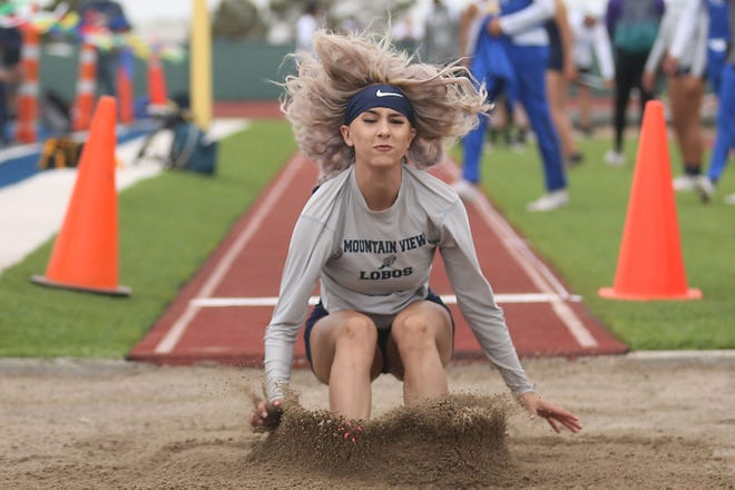Paola Guzman during the long jump in the Class 4A area track and field meet Thursday, April 15, 2021, at Mountain View High School in El Paso.