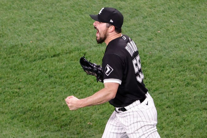 Chicago White Sox pitcher Carlos Rodon reacts after throwing a no-hitter vs. Cleveland.