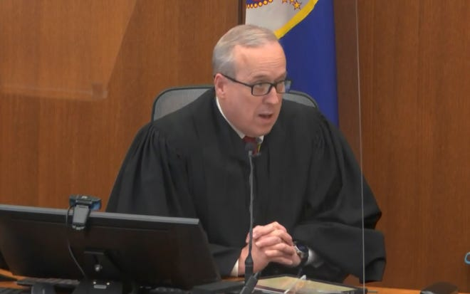 In this image from video, Judge Peter Cahill speaks to the jury after the state and the defense rested on Thursday at the murder trial of former Minneapolis police officer Derek Chauvin.