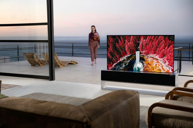 The LG OLED R rollable TV.