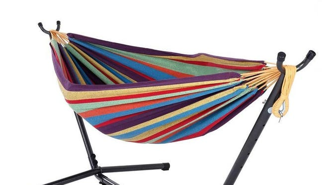 The colorful design and easy set-up method make this hammock a popular pick for spring shoppers.