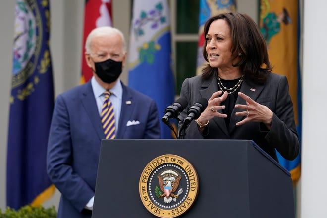 President Joe Biden and Vice President Kamala Harris on March 12, 2021, in the Rose Garden of the White House.