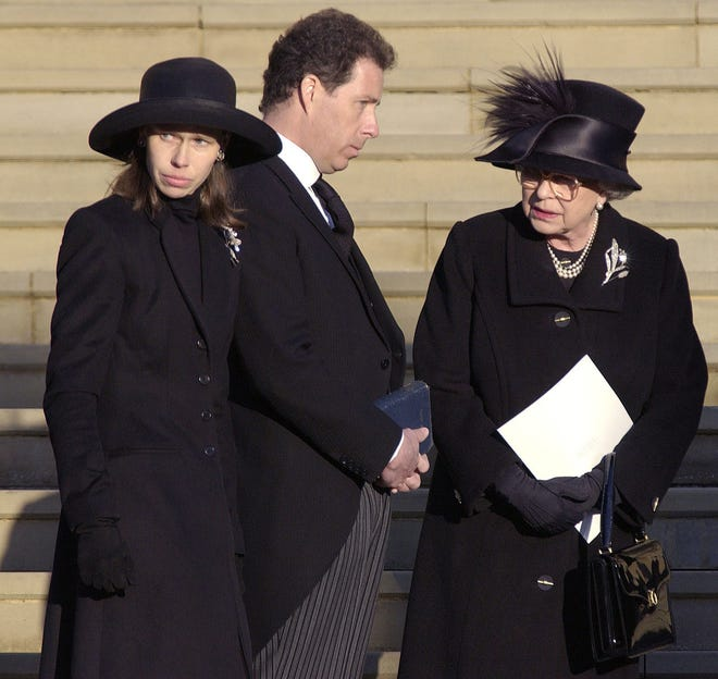 Queen Elizabeth II with her nephew and niece, Viscount Linley and Lady Sarah Chatto, at St. George's Chapel in Windsor Castle, on Feb. 15, 2002, for the funeral for their mother, the queen's sister, Princess Margaret.