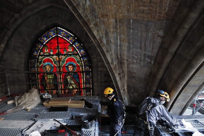 """""""The objective ... is to return Notre Dame to worshippers and to visits in 2024. That means that in 2024, Mass will be able to be organized in the cathedral,"""" Jeremie Patrier-Leitus, a spokesperson for the restoration, told The Associated Press."""