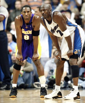 Kobe Bryant (8) modeled his game after Michael Jordan's, especially early in his career.