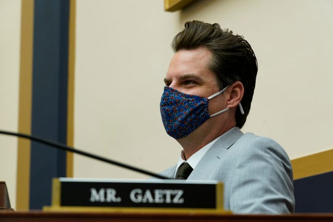 Rep. Matt Gaetz, R-Fla., attends a House Judiciary committee markup at the Capitol in Washington, Wednesday, April 14, 2021. (AP Photo/J. Scott Applewhite) ORG XMIT: NYOTK