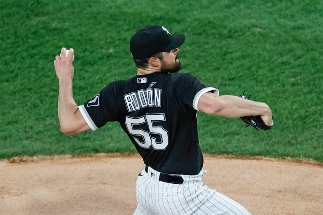 After pitching only 7 2/3 innings in 2020 after recovering from Tommy John surgery, White Sox lefty Carlos Rodon has not given up a run and allowed only two hits over his first two starts this season.