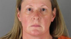 Former Brooklyn Center Police Officer Kim Potter is pictured after her arrest Wednesday at Hennepin County Jail in Minneapolis, Minnesota. Potter, a 26-year police veteran, was charged with second-degree manslaughter in the fatal shooting of 20-year-old Daunte Wright following a traffic stop over the weekend.