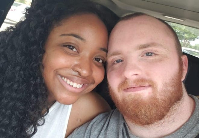 Daniel Perry fatally shot Garrett Foster, right, at an Austin protest on Congress Avenue against police brutality on July 25. Foster was the full-time caretaker for his fiance, Whitney Mitchell, left. Perry said he shot Foster in self-defense.