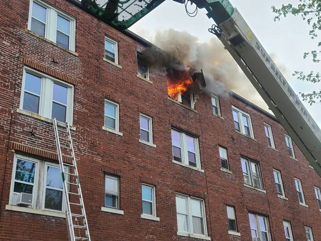 The Akron Fire Department battled an apartment fire in the city's North Hill neighborhood on Friday, April 16, 2021.