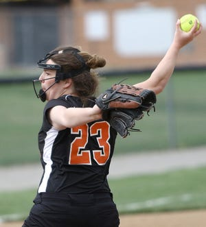 Marlington pitcher Sofia Nase throws to an Alliance batter during a game April 15. The Dukes are the overall No. 1 seed for the upcoming Division II softball tournament.