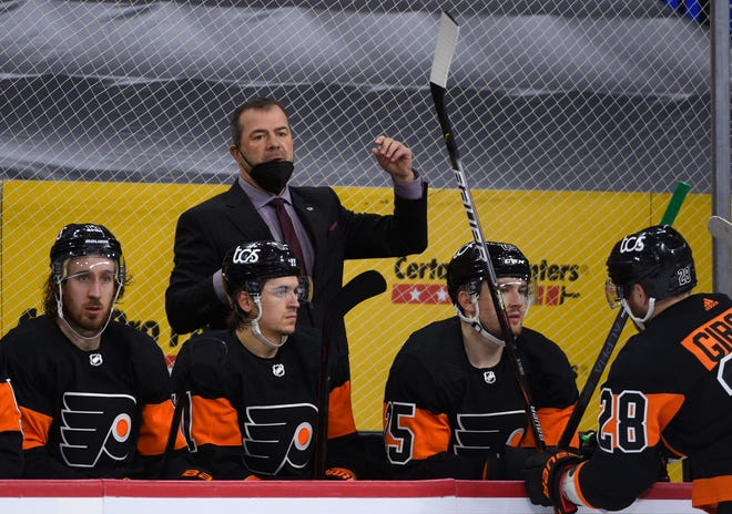 Philadelphia Flyers head coach Alain Vigneault in action during a game against the Buffalo Sabres, April 11, in Philadelphia.