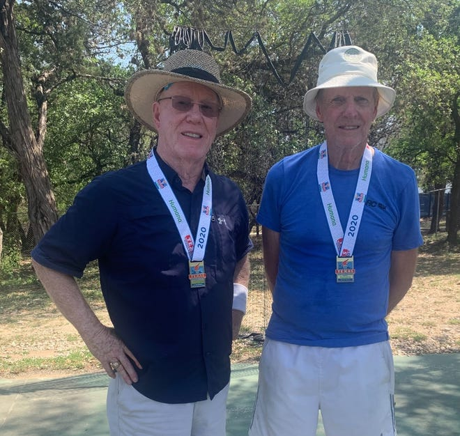 Lyndon Brownlee (left) and Paul Swanson, both of Brownwood, recently competed in the Texas Senior Games in San Antonio. The team garnered their eighth gold medal in men's tennis doubles.  This is a record for Texas Senior Games in tennis as no team has won more than seven gold medals. The team qualifies to compete in the National Senior Games to be held in Florida in the fall.
