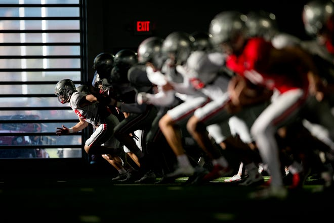 Ohio State spring football practice, at Woody Hayes Athletic Center, Friday April 2, 2021.