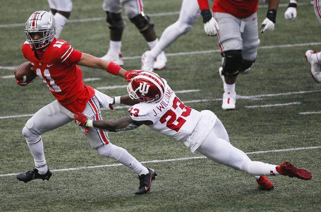Ohio State receiver Jaxon Smith-Njigba (11) will get a long look from coaches as the team's primary slot receiver after Garrett Wilson was moved to a role as an outside receiver.