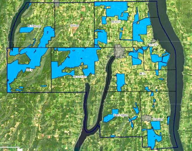 Covering about 80 square miles, charted here in blue, the ReConnect Project will provide and improve internet access for approximately 2,800 rural households, plus farms, businesses, and the Penn Yan and Dundee Central School Districts; far more than the 1,635 originally estimated.