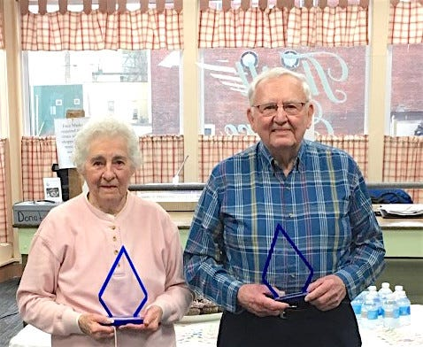 Two Lifetime Achievement Awards were presented to Bea Christensen and Bill Turner April 12 at the Once Again Shoppe for both contributing 10,000+ hours of service to the thrift store.
