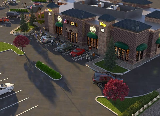 A rendering of the upcoming Bubbly food hall in New Albany.
