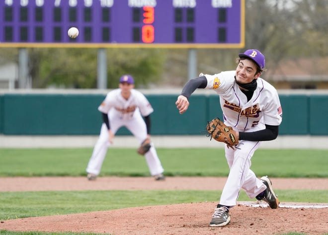 Blissfield's Nolan Savich delivers a pitch during Thursday's game against Tecumseh.