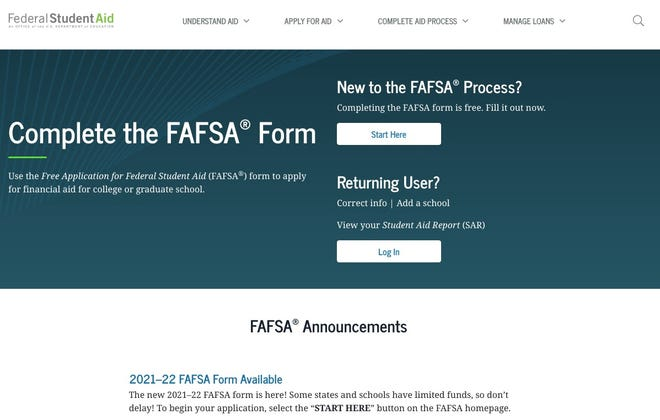 Part of the FAFSA website is pictured